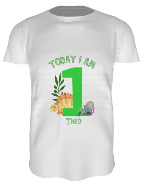 Today I Am (Age) Dinosaur Personalised Child's T-Shirt (1)